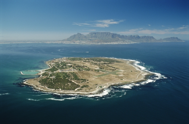 South Africa, Western Cape, Robben Island, aerial view